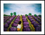 GIRL IN LAVENDER FARM, Paintings, Modernism, Botanical, Floral, People, Acrylic, Canvas, By HSIN LIN