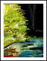 Glowing Tree, Paintings, Fine Art, Landscape, Canvas,Oil,Painting, By Raven L Lankford