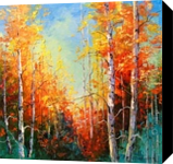 Golden autumn, Paintings, Impressionism, Botanical,Landscape,Nature,Wildlife, Canvas,Oil,Painting, By Olha   Vyacheslavovna Darchuk