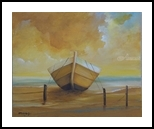 Golden Boat in the Golden Beach, Paintings, Fine Art, Nature, Canvas, By Alicia Maury