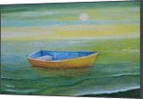 Golden Boat in the Green Lagoon, Paintings, Impressionism, Seascape, Oil, By Alicia Maury Fine Art