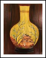 Golden vase, Paintings, Fine Art, Floral,Historical,Land Art,Landscape, Canvas,Oil,Painting, By Sulita Xieernayi Kosteyn