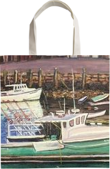 Green Boat Reflections, Paintings, Impressionism,Realism, Seascape, Oil, By Richard John Nowak