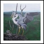 Grey herons family, Paintings, Fine Art, Animals, Canvas,Oil,Painting, By Claudia Luethi alias Abdelghafar
