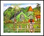 Hanalei Church in Kauai, Paintings, Primitive, Landscape, Acrylic, By Lydia Matias
