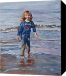 Happy with sea and sand, Paintings, Impressionism, Figurative, Oil, By Elena Sokolova