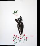 Harlequin in roses, Paintings, Surrealism, Fantasy, Oil, By Natasa Menart