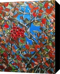 HAWTHORN BERRIES, Paintings, Modernism, Botanical, Nature, Canvas, By HSIN LIN