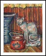 heat, Paintings, Expressionism,Fine Art,Impressionism,Modernism, Animals,Avant-Garde,Composition,Daily Life,Decorative, Painting, By Kate Mikhatova