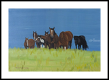 Herd of horses relaxing in peace, Paintings, Realism, Animals, Oil, By Claudia Luethi alias Abdelghafar