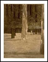 Hiker, Printmaking, Expressionism, Landscape, Ink, By Thomas J Norulak