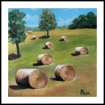 Hillside Hayfield, Paintings, Abstract,Impressionism, 3-D,Landscape,Nature, Canvas, By Pamela D Cauley