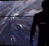 Horizon with black silhouette man, Digital Art / Computer Art, Existentialism, Conceptual, Digital, By Rosa C