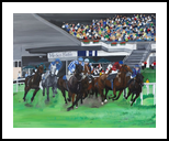 Horse race, Paintings, Realism, Animals, Oil, By Claudia Luethi alias Abdelghafar