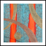Hot orange stripe copper patina A109 Abstract Painting vertical wall art Acrylic Original Contemporary Art for Lounge, Office or above sofa by artist Ksavera, Decorative Arts,Multipanel Art,Paintings, Abstract,Commercial Design,Expressionism,Modernism, Avant-Garde,Composition,Decorative,Spiritual, Acrylic,Canvas,Mixed,Spray Paint, By Ksavera Art