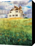 House on the Hill, Paintings, Impressionism, Landscape, Watercolor, By Christina Giza