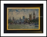 Houses of Parlaiment, Paintings, Impressionism, Cityscape, Oil, By Andre Jean Francois Pallat