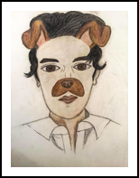 Human Dog, Drawings / Sketch, Fine Art, Humor,Portrait,Still Life, Pencil, By Liam Banzon Ramos