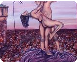 IL BALLO, Paintings, Fine Art,Surrealism, Cityscape,Composition,Nudes, Acrylic,Canvas, By Corinne Marie Claude Tomas