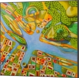 Imaginary map of Turin, Paintings, Abstract, Composition,Documentary, Canvas,Oil, By federico cortese