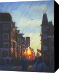 Impression of an Amsterdam sunset - 19-12-14, Drawings / Sketch, Abstract,Expressionism,Fine Art,Impressionism,Realism, Architecture,Cityscape,Composition,Figurative,Inspirational,Landscape, Pastel, By Corne Akkers