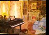 Interior with piano, Paintings, Impressionism, Daily Life, Acrylic, By slobodan dusan paunovic