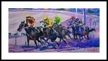 Into the Far Turn, Paintings, Impressionism, Animals, Canvas, By robert marcelo manalang