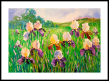 Irises in field, Paintings, Impressionism, Botanical, Floral, Nature, Canvas, Oil, Painting, By Olha   Vyacheslavovna Darchuk