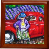 J. C. 1931 Fishing in Red Grandma Old Car Lavender Fields Jackie Carpenter, Paintings, Expressionism, Daily Life, Acrylic, By Jackie Carpenter