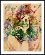 Janis, Digital Art / Computer Art, Pop Art, Historical,Memorial,Music,People,Portrait, Digital,Watercolor, By Sandy Richter
