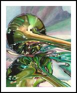 Jazz Shine, Paintings, Fine Art,Impressionism, Mirrors,Still Life, Ink,Watercolor, By Carla Kurt