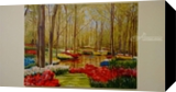 Keukenhof gardens, Paintings, Realism, Botanical,Landscape,Nature, Canvas,Oil,Painting, By Meera Bhaskaran