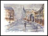 Kiev, Paintings, Realism, Architecture,Cityscape,Landscape, Watercolor, By Eugene Gorbachenko