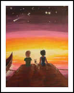 Colors of Friendship, Illustration, Expressionism, Children, Acrylic,Canvas, By Loretta Hon
