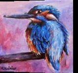 Kingfisher, Paintings, Fine Art, Animals,Nature, Acrylic,Canvas, By Marta Kuźniar