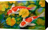 Koi fish, Paintings, Impressionism, Animals,Nature, Canvas,Oil,Painting, By Olha   Vyacheslavovna Darchuk