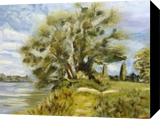 Landscape with a tree, Paintings, Impressionism, Landscape, Oil, By Elena Sokolova