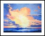 Larnaca Sun II, Paintings, Fine Art,Impressionism, Celestial / Space,Landscape,Seascape, Canvas,Oil,Painting, By Susan Kerr