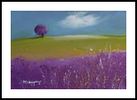 Lavender Tree On The Shore, Paintings, Impressionism, Landscape, Oil, By Alicia Maury Fine Art