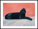 Le Chat Noir, Paintings, Impressionism, Animals, Oil, By Mary Stubberfield