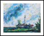 Lighthouse, Paintings, Expressionism, Landscape, Acrylic, By Jane Adrianson