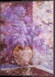 LILAC SPLENDOR, Paintings, Expressionism,Fine Art,Impressionism, Botanical,Floral,Still Life, Acrylic,Canvas, By Emilia Milcheva