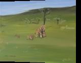 Lions family, Paintings, Fine Art, Animals, Canvas,Oil,Painting, By Claudia Luethi alias Abdelghafar