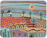 Lively Landscape, Folk Art, Fine Art, Landscape, Acrylic, By KARLA A GERARD