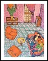Living room, Decorative Arts, Primitive, People, Acrylic, By Paula Valeria Fridman