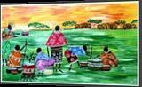 Maasai feast preparation, Paintings, Fine Art, People, Acrylic, By Smita Biswas