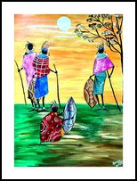 Maasai Warriors, Paintings, Fine Art, Figurative,Landscape,People, Acrylic, By Smita Biswas