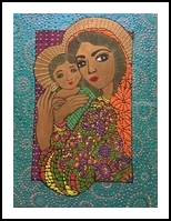 Madonna and Child Bathtime, Paintings, Impressionism, Figurative, Acrylic,Ink, By Rita B Bustamante