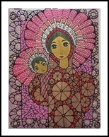 Madonna and Child: Festivities, Paintings, Impressionism, Figurative, Acrylic,Canvas,Ink, By Rita B Bustamante