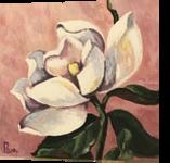 Magnolia Bloom #1, Paintings, Expressionism, Botanical, Acrylic,Canvas, By Pamela D Cauley